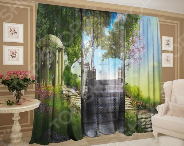 Фотокомплект: тюль и шторы ТамиТекс «Свежий воздух» комплект шторы и тюль мартекс фиолетовый сад