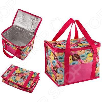 Термо-сумка. Объем: 13 л. Цвет: розовый. Рисунок: пончики