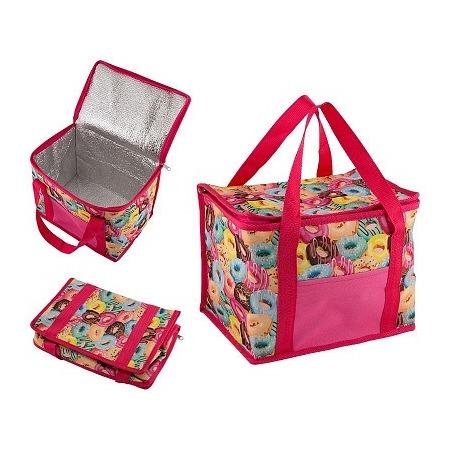 Купить Термо-сумка. Объем: 13 л. Цвет: розовый. Рисунок: пончики