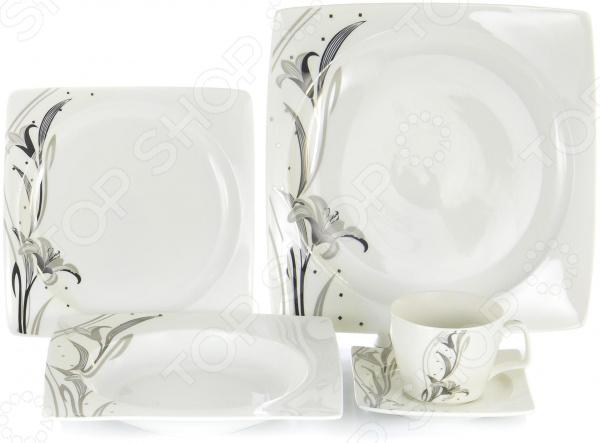 Набор столовой посуды OlAff «Белый квадрат. Лилия». Количество предметов: 30 набор столовой посуды olaff алькор 13 предметов