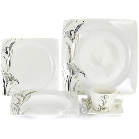 Купить Набор столовой посуды OlAff «Белый квадрат. Лилия». Количество предметов: 30