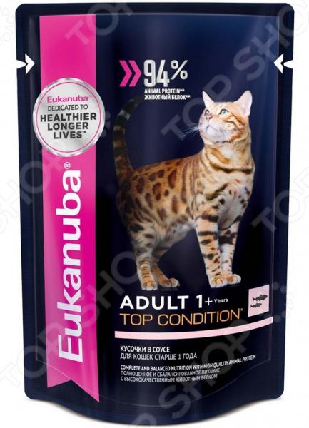 Корм влажный для кошек Eukanuba Adult Top Condition с лососем в соусе