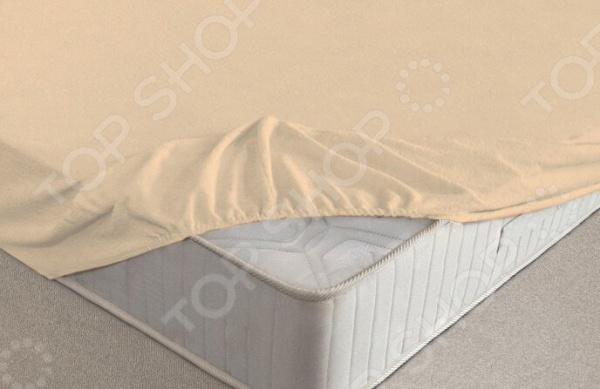 Простыня на резинке Ecotex махровая. Цвет: бежевый