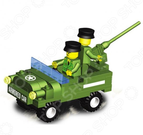 Конструктор-игрушка SuperBlock Военные маневры. Автомобиль занимательная и развивающая игрушка. Помимо того, что ребенок весело будет проводить свободное время, он сможет развить некоторые свои навыки и узнать много нового. Благодаря конструктору, ваш малыш познакомиться с основами построения различных моделей. Сама конструкция выполнена из экологически чистого пластика и абсолютно безопасна для ребенка. Конструктор собирается в модель военного автомобиля из 80 деталей. При желании, вы можете помочь ребенку на начальном этапе знакомства с методом сборки. Также, в наборе есть подробная инструкция, с помощью которой дети легко смогут собрать игрушечную военную технику. Стоит также обратить внимание на то, что детали набора совместимы с конструкторами других марок, в том числе и со всем известным Lego. Приобретая конструктор вы приобретаете целый мир для развития фантазии и мелкой моторики! Продукт рекомендуется для игры детям от шести лет и старше. В наборе содержится очень много мелких деталей, которые дети помладше могут проглотить. Ваш ребенок, мальчик или девочка, с энтузиазмом примут нового друга в свои игры.