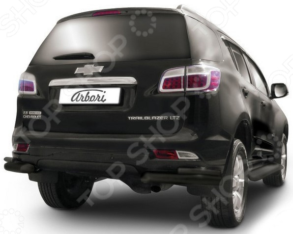 Защита заднего бампера «уголки» Arbori двойная для Chevrolet Trailblazer, 2012. Цвет: черный защита заднего бампера уголки arbori двойная для уаз патриот 2014