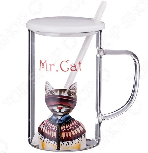 Кружка с крышкой и ложкой Lefard Mr. Cat 495-1020 стеклянная вазочка с крышкой am0101030