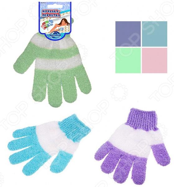 Мочалка-перчатка Мультидом «Полосатик» MJ17-37. В ассортименте бинки мочалка на руку д детей перчатка 25х21см