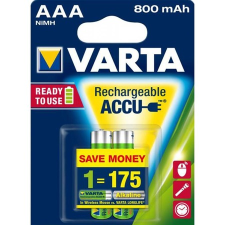 Батарея аккумуляторная VARTA AAA R2U 800 мАч 2 шт.