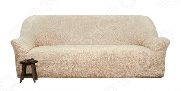 Натяжной чехол на четырехместный диван Еврочехол «Микрофибра. Ваниль»