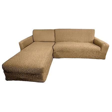 Купить Натяжной чехол на угловой диван с выступом слева Еврочехол «Микрофибра. Кофейный»