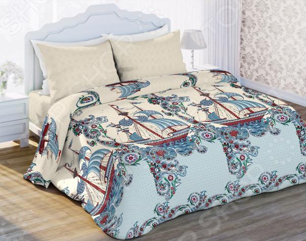 Комплект постельного белья Любимый дом «Владыка морей». Цвет: бледно-желтый, голубой, бордовый. 1,5-спальный