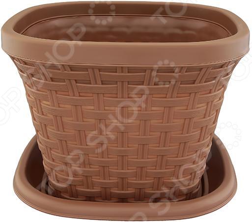 Кашпо квадратное с поддоном Violet «Ротанг». Цвет: какао