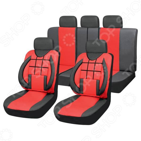 Набор чехлов для сидений SKYWAY Protect 2 «Квадраты» Набор чехлов для сидений SKYWAY S01301080 /Красный/Черный