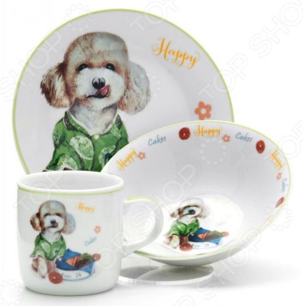 Набор посуды для детей Loraine LR-26094 «Собачка» набор посуды loraine фея lr 24026 3 предмета детский
