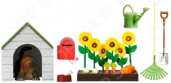 Фото - Комплект аксессуаров для кукольного домика Lundby «Садовый набор с питомцем» аксессуары для домика lundby садовый набор с питомцем