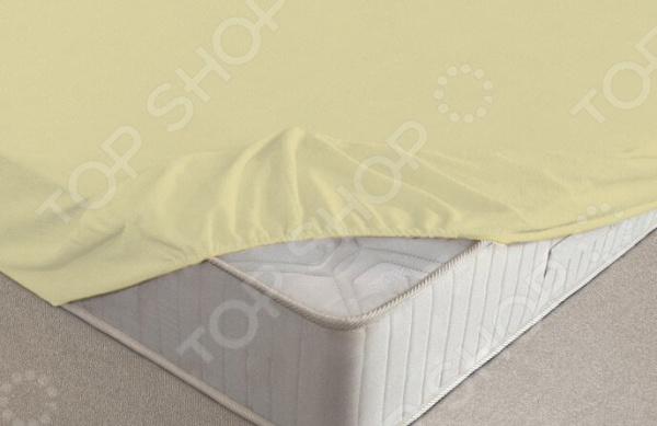 Простыня на резинке Ecotex махровая. Цвет: нежно-желтый