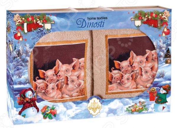 Комплект из 2-х махровых полотенец Dinosti «Семья поросят». В ассортименте