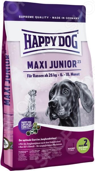 Корм сухой для щенков крупных пород Happy Dog Supreme Maxi Junior GR 23 сухой корм happy dog supreme sensible adult 11kg neuseeland lamb