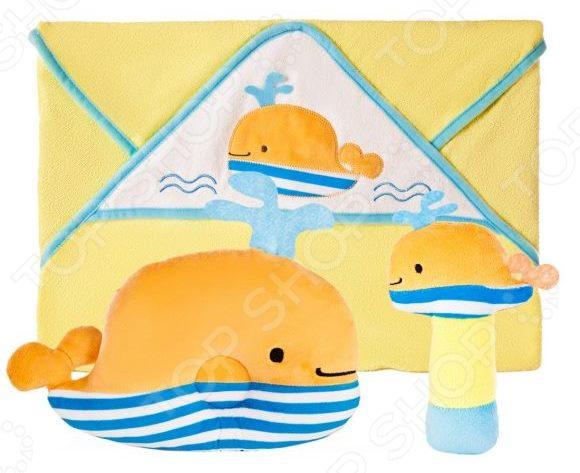 Комплект для малыша: подушка, полотенце и погремушка Жирафики «Веселый кит»
