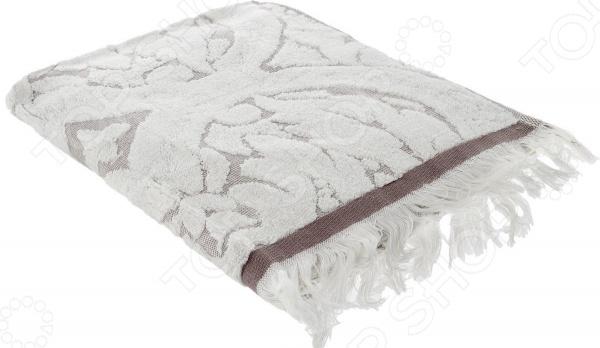 Полотенце махровое Guten Morgen «Лакшми». Цвет: серый, молочный цена и фото
