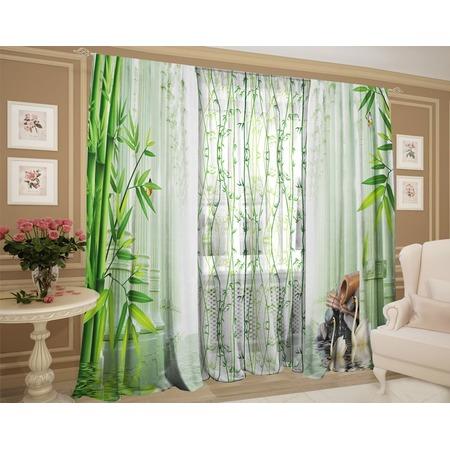 Купить Фотокомплект: тюль и шторы ТамиТекс «Бамбуковые заросли»