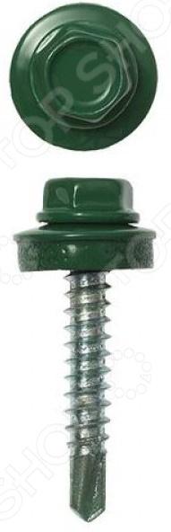 Набор саморезов кровельных Stayer СКМ для металлических конструкций. Цвет: зеленый