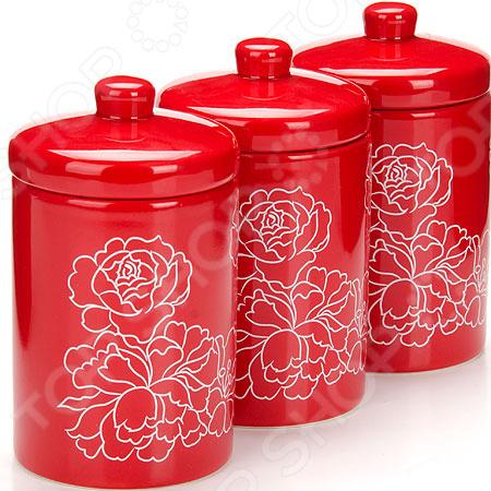 набор банок для сыпучих продуктов loraine красный узор 400 мл 3 шт 25862 Набор банок для сыпучих продуктов Loraine «Узор цветов»