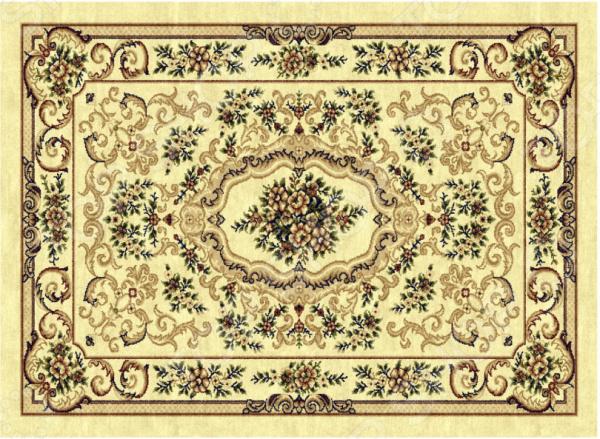 Ковер прямоугольный Kamalak tekstil «Цветочное плетение». Цвет: бежевый - артикул: 1602016