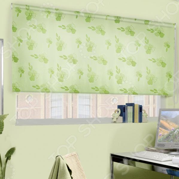 Рулонная штора Эскар «Эдельвейс». Цвет: зеленый