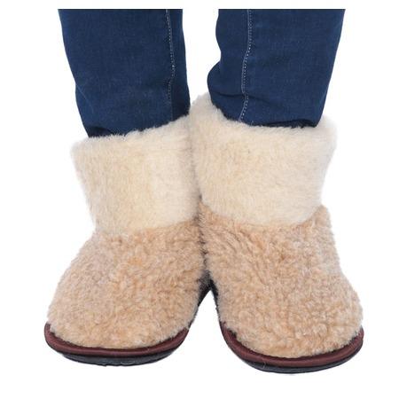 Купить Чуни из овечьей шерсти WOOLLAMB «Антарктида». Цвет: бежевый, коричневый