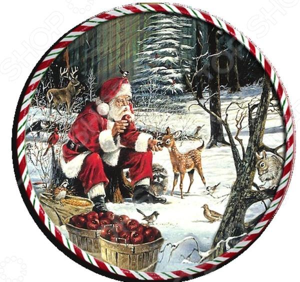 Подставка под горячее круглая Gift'n'home «Санта с животными» подставка под горячее gift n home до скорой встречи пробковая 21 5 х 29 см 2 шт