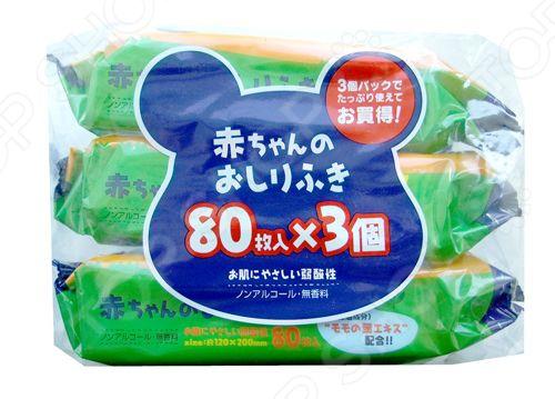 Салфетки влажные детские Showa Siko с экстрактом листьев персика