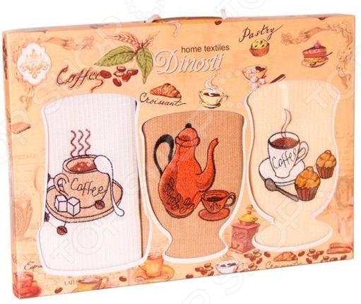 Комплект из 3-х кухонных полотенец Dinosti «Кофеман»
