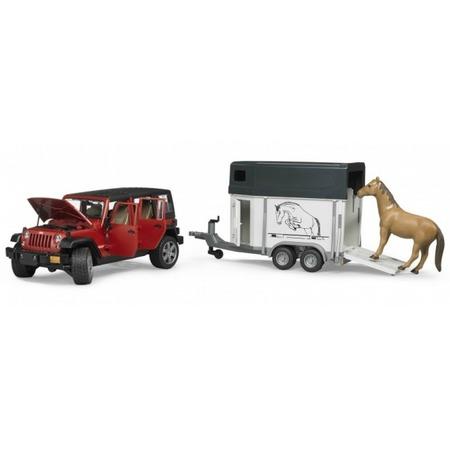 Купить Внедорожник игрушечный Bruder Jeep Wrangler Unlimited Rubicon c прицепом-коневозкой