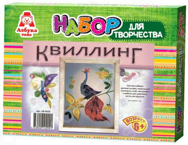 Набор для создания квиллинг-панно Азбука тойс Жар-птица это отличный набор для детского творчества. Немного терпения и фантазии и яркая объемная поделка готова. Ею можно украсить детскую комнату или же преподнести в качестве подарка друзьям и близким. Подобные творческие занятия необычайно популярны как среди малышей, так и среди их родителей, способствуют развитию мелкой моторики рук, усидчивости и концентрации внимания.  Панно выполнено в виде картинки с жар-птицей. Задача ребенка дополнительно украсить аппликацию скрученными полосочками бумаги. Следует помнить, что цвет полоски должен строго соответствовать цвету на картинке. Особенности и преимущества  Рекомендовано для детей в возрасте от 6-ти лет.  Яркие насыщенные цвета способствуют развитию у малышей цветового восприятия.  В состав набора входит цветная основа, полоски для квиллинга, клей, инструмент и шаблон для квиллинга, кисть и инструкция.