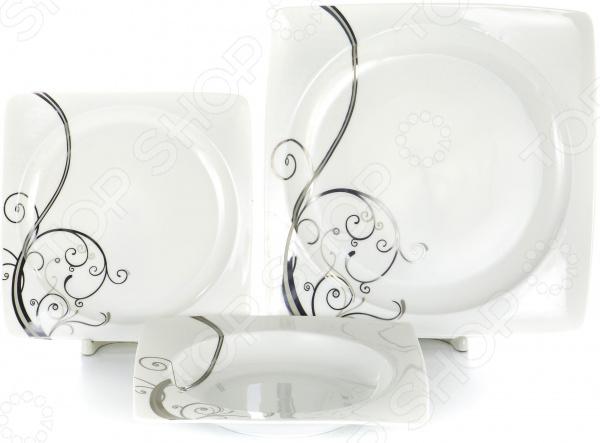 Набор столовой посуды OlAff «Белый квадрат. Узоры». Количество предметов: 18 фруктовница olaff кетцаль узоры 2 яруса kr scp011 012 1056b