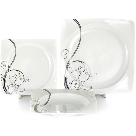 Купить Набор столовой посуды OlAff «Белый квадрат. Узоры». Количество предметов: 18