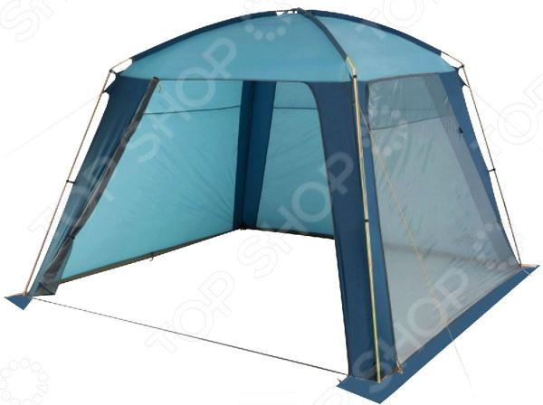 Шатер Trek Planet Rain Dome универсальная модель для летнего отдыха на природе. Палатка имеет классическую четырехугольную форму и красивый сине-голубой цвет. Она идеально подойдет для дачи или рыбалки в качестве навеса или беседки. Конструкция очень устойчива и стойко выдерживает даже сильные порывы ветра. Шатер легко собирается и разбирается, а также компактно упаковывается в сумку-чехол. Этот чехол прекрасно подойдет для кемпинга в большой компании. Две стороны изделия из полиэстера надежно защитят от дождя и ветра, тогда как две другие стороны сделаны из москитной сетки, позволяя шатру проветриваться. Все швы качественно проклеены и обеспечивают необходимую герметизацию. Обе москитные сетки служат входом в шатер, которые расстегиваются на молнии и удобно сворачиваются в сторону. Каркас состоит из стальных боковых стоек, а потолок из прочных стеклопластиковых дуг. Внутри палатки на потолке есть специальное отделение, куда можно подвесить фонарь.