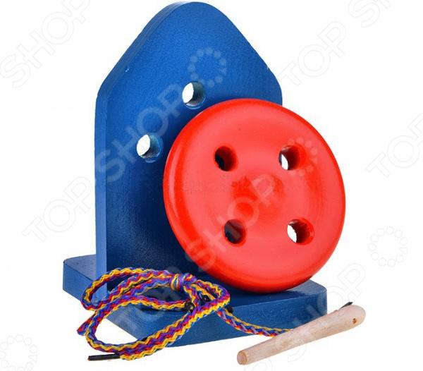 Игрушка развивающая RNToys «Пуговица-шнуровка» на подставке крашеная