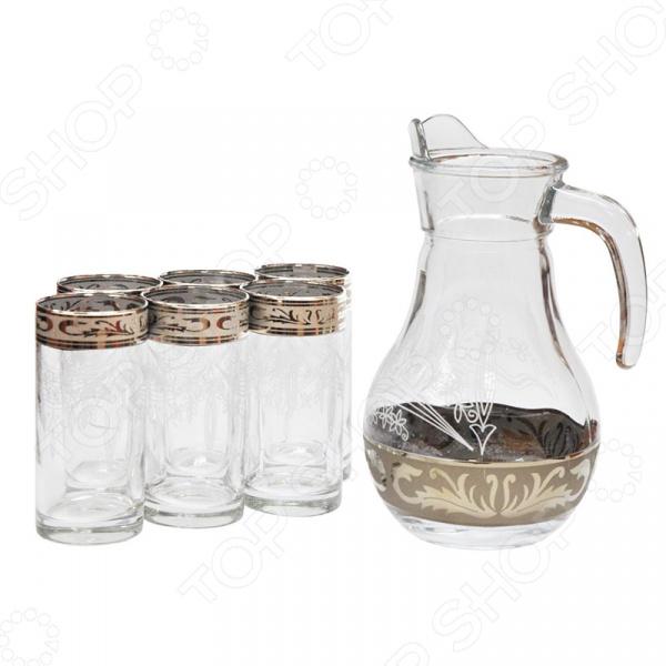 Набор: кувшин и 6 стаканов Гусь Хрустальный «Русский Узор» набор кувшин и 6 стаканов гусь хрустальный русский узор