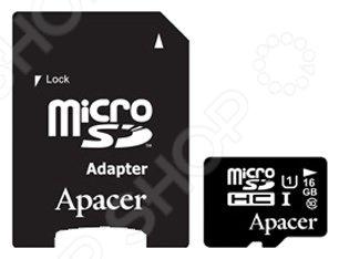 Карта памяти Apacer SD 16Gb Class 10 UHS-I с адаптером energizer microsdhc class10 uhs i 32gb карта памяти с адаптером