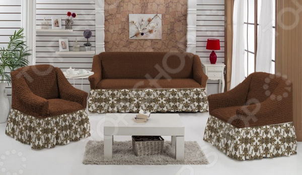 Натяжной чехол на трехместный диван и чехлы на 2 кресла ОТК «Изысканный стиль»