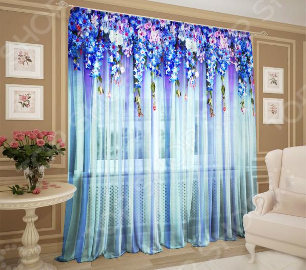 Комплект тюля ТамиТекс «Ламбрекен из цветов»