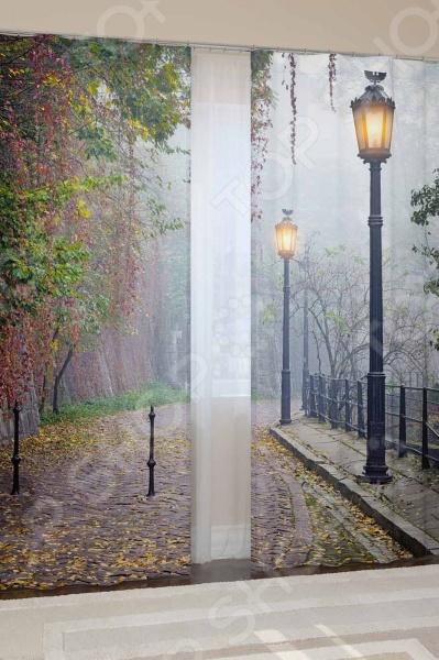 Фотошторы блэкаут Сирень «Улица. Фонари»