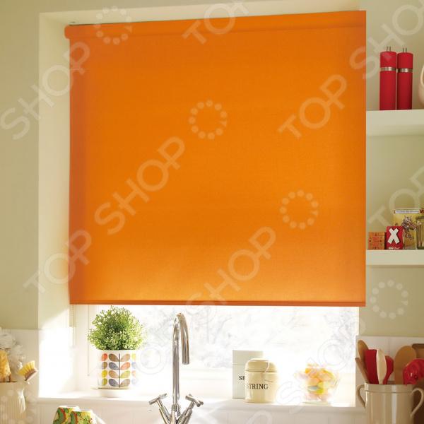 Рулонная штора Эскар однотонная. Цвет: апельсиновый шторы рулонные ролло идея рулонная штора ролло lux samba цветы зеленый оранжевый желтый 160 см