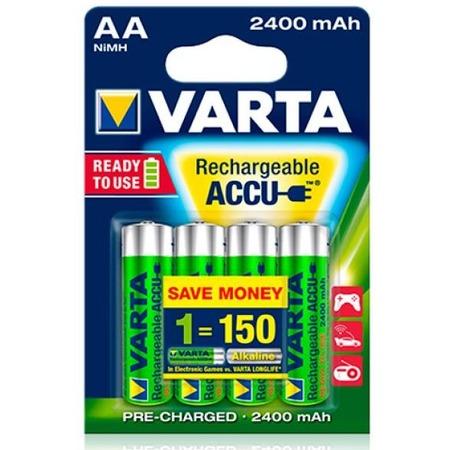 Батарея аккумуляторная VARTA AA R2U 2400 мАч 4 шт.