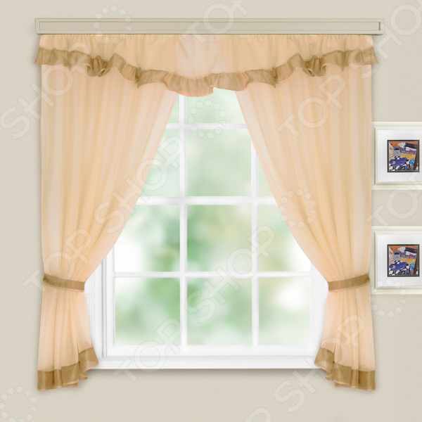 Комплект легких штор WITERRA «Акцент». Цвет: темно-бежевый