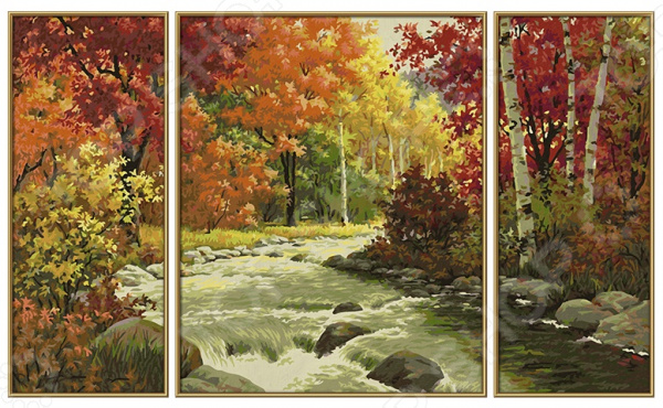 Набор для рисования по номерам Schipper «Триптих. »Осенний поток набор для рисования по номерам schipper триптих дед мороз