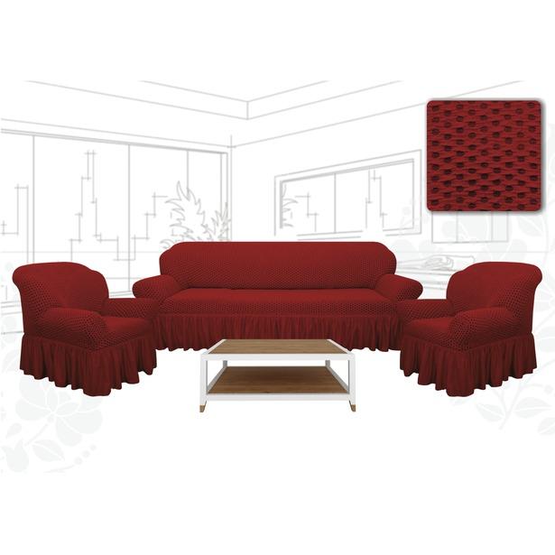 фото Натяжной чехол на трехместный диван и чехлы на 2 кресла Karbeltex «Престиж. Соты» Euro. Цвет: красный