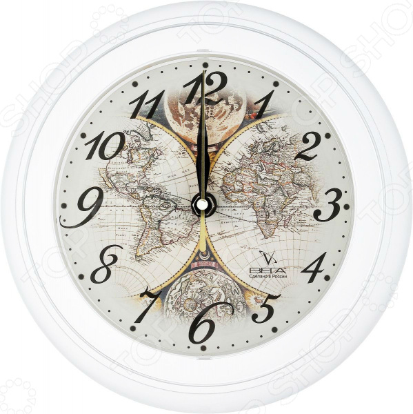 Часы настенные Вега П 6-0-14 «Карта мира. Под старину»